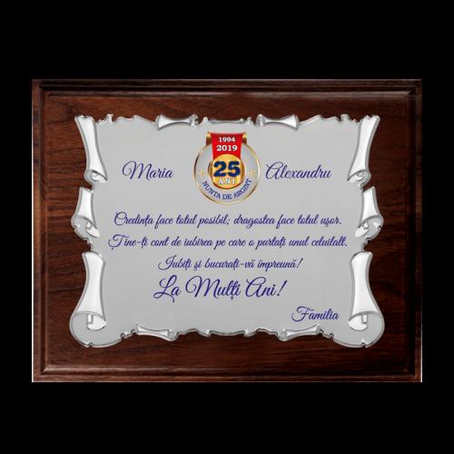 """Placheta """"Nunta de Argint"""" 4"""