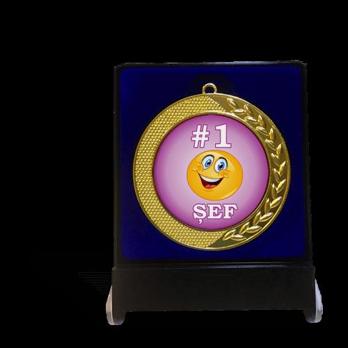 """Medalie in cutie """"#1 Sef/Sefa"""""""