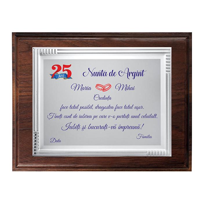 """Placheta """"Nunta de Argint"""" 5"""